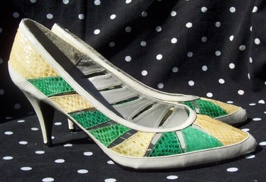 Greenyellowsnakeskinheels